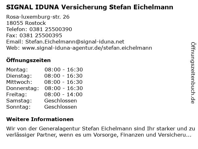 SIGNAL IDUNA Versicherung Stefan Eichelmann in Rostock: Adresse und Öffnungszeiten