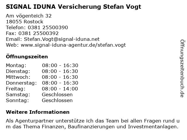 SIGNAL IDUNA Versicherung Stefan Vogt in Rostock: Adresse und Öffnungszeiten