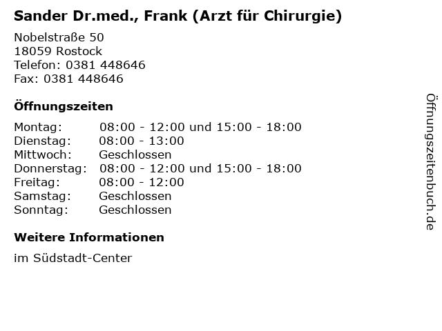 Sander Dr.med., Frank (Arzt für Chirurgie) in Rostock: Adresse und Öffnungszeiten