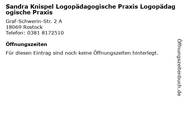 Sandra Knispel Logopädagogische Praxis Logopädagogische Praxis in Rostock: Adresse und Öffnungszeiten
