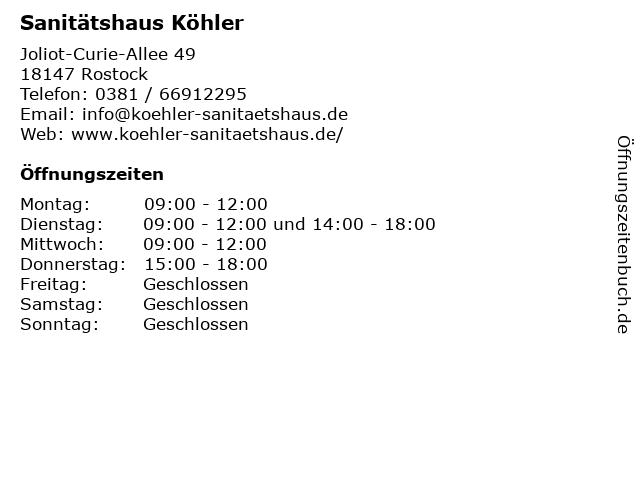 Sanitätshaus Köhler in Rostock: Adresse und Öffnungszeiten
