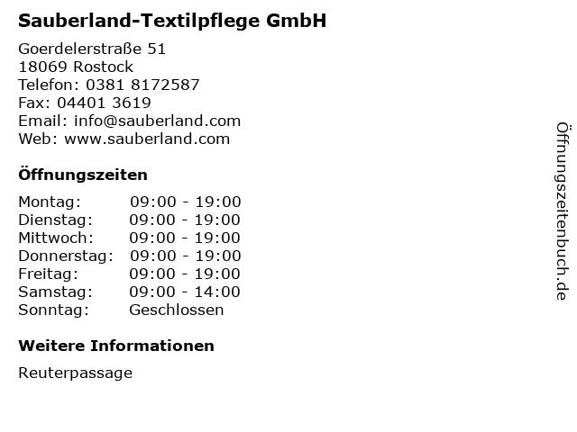 Sauberland-Textilpflege GmbH in Rostock: Adresse und Öffnungszeiten