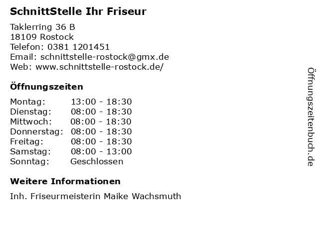 SchnittStelle Ihr Friseur in Rostock: Adresse und Öffnungszeiten