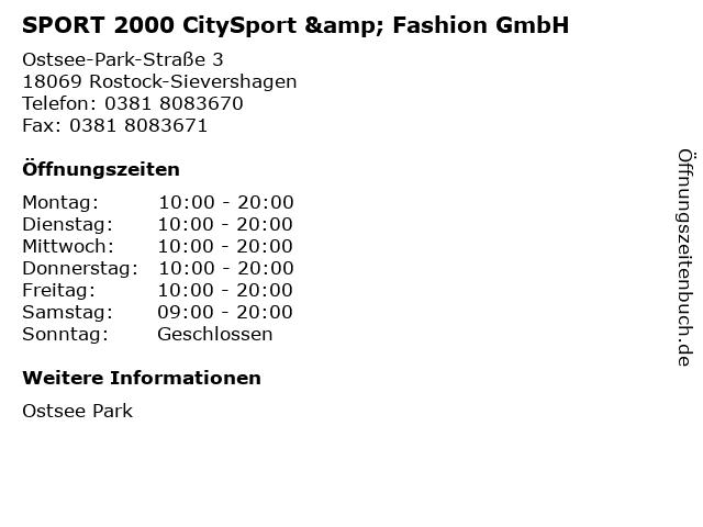 SPORT 2000 CitySport & Fashion GmbH in Rostock-Sievershagen: Adresse und Öffnungszeiten