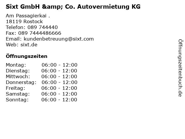 Sixt GmbH & Co. Autovermietung KG in Rostock: Adresse und Öffnungszeiten
