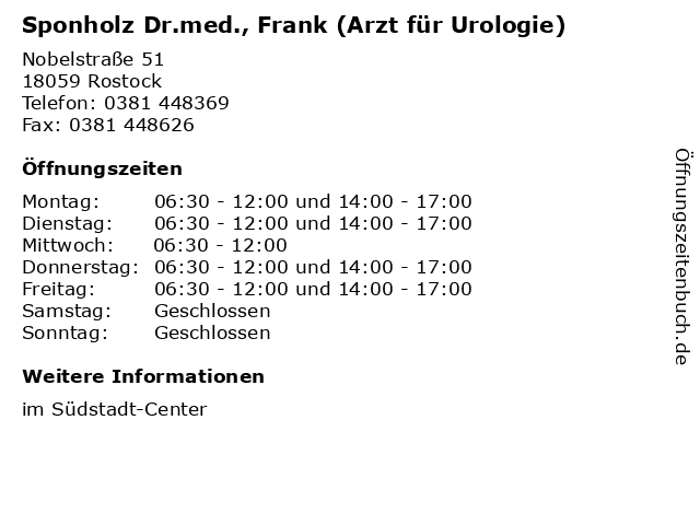 Sponholz Dr.med., Frank (Arzt für Urologie) in Rostock: Adresse und Öffnungszeiten