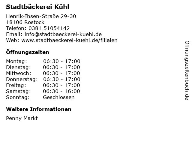 Stadtbäckerei Kühl GmbH & Co. KG in Rostock: Adresse und Öffnungszeiten