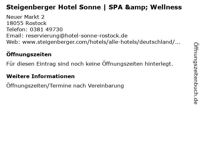 Steigenberger Hotel Sonne   SPA & Wellness in Rostock: Adresse und Öffnungszeiten