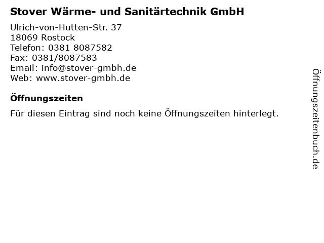 Stover Wärme- und Sanitärtechnik GmbH in Rostock: Adresse und Öffnungszeiten