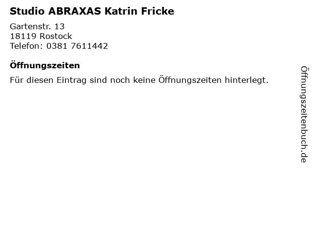 Studio ABRAXAS Katrin Fricke in Rostock: Adresse und Öffnungszeiten