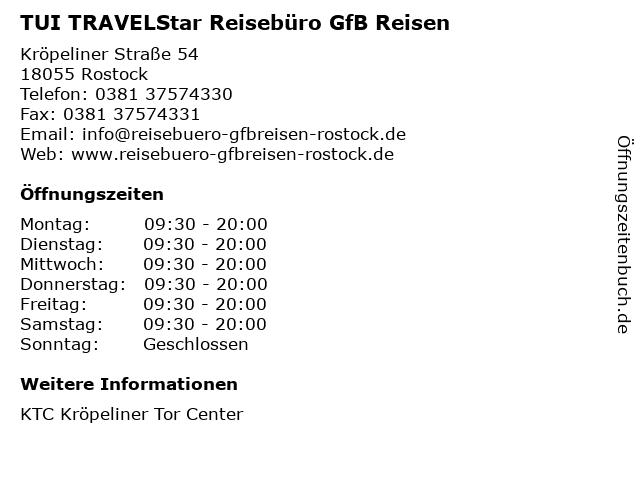 TUI TRAVELStar Reisebüro GfB Reisen in Rostock: Adresse und Öffnungszeiten