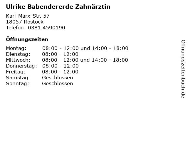 Ulrike Babendererde Zahnärztin in Rostock: Adresse und Öffnungszeiten