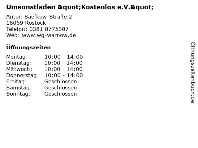 """Umsonstladen """"Kostenlos e.V."""" in Rostock: Adresse und Öffnungszeiten"""
