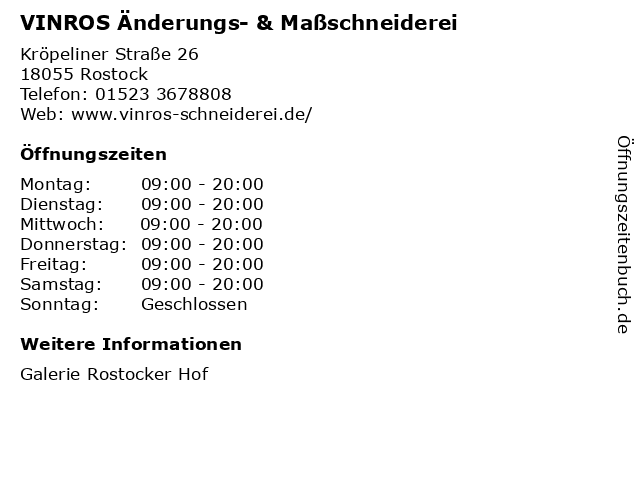 VINROS Änderungs- & Maßschneiderei in Rostock: Adresse und Öffnungszeiten
