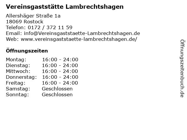 Vereinsgaststätte Lambrechtshagen in Rostock: Adresse und Öffnungszeiten
