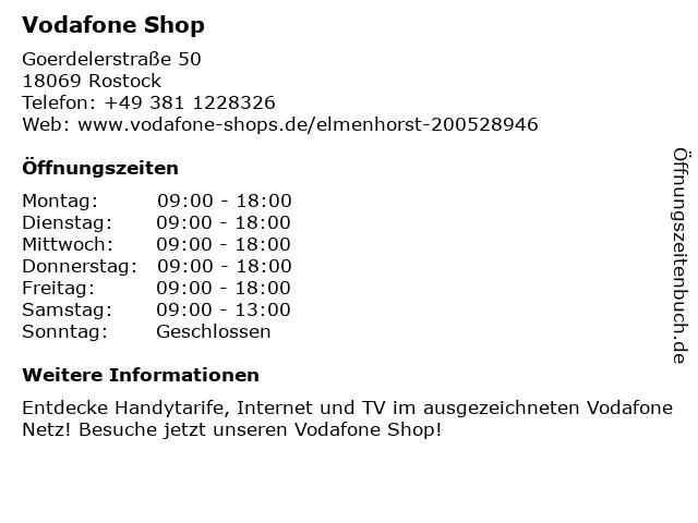 Vodafone Shop in Rostock: Adresse und Öffnungszeiten