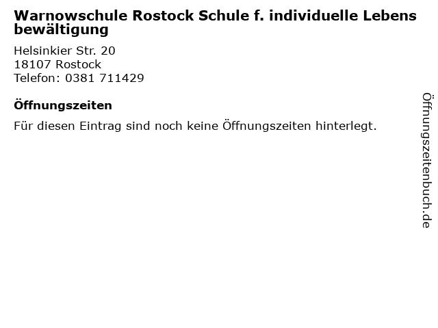 Warnowschule Rostock Schule f. individuelle Lebensbewältigung in Rostock: Adresse und Öffnungszeiten