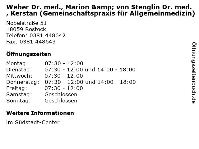 Weber Dr. med., Marion & von Stenglin Dr. med., Kerstan (Gemeinschaftspraxis für Allgemeinmedizin) in Rostock: Adresse und Öffnungszeiten
