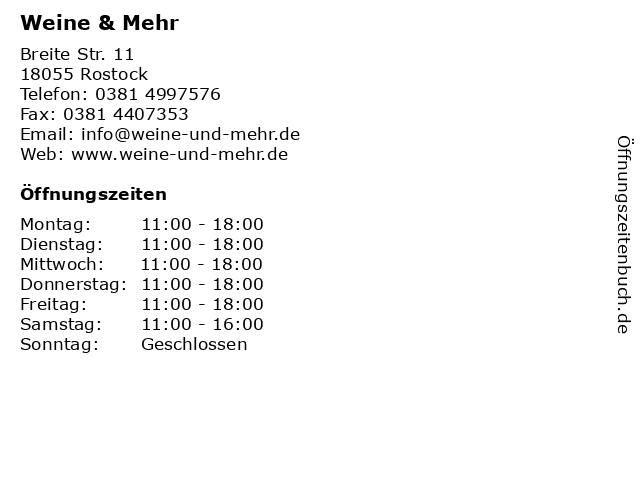 Weine & Mehr in Rostock: Adresse und Öffnungszeiten