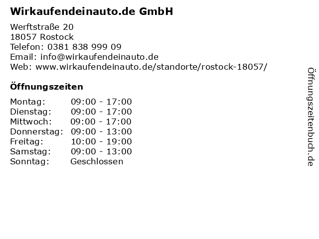 Wirkaufendeinauto.de GmbH in Rostock: Adresse und Öffnungszeiten
