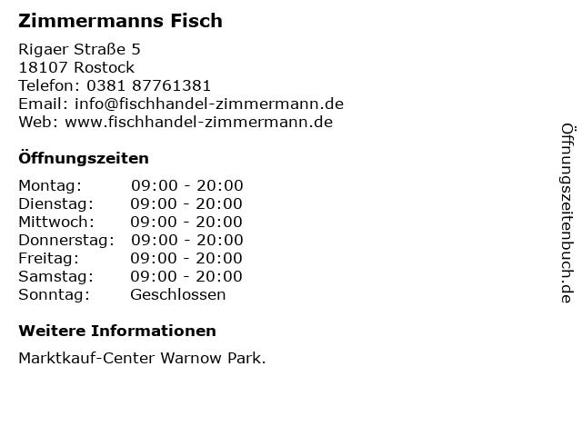 Zimmermanns Fisch in Rostock: Adresse und Öffnungszeiten