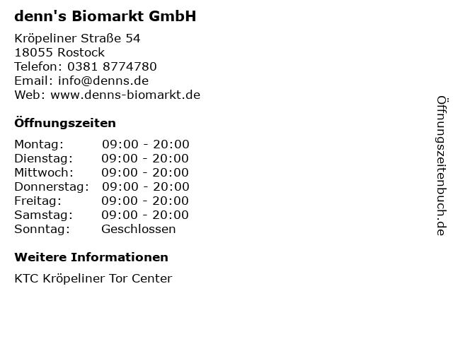 denn's Biomarkt GmbH in Rostock: Adresse und Öffnungszeiten