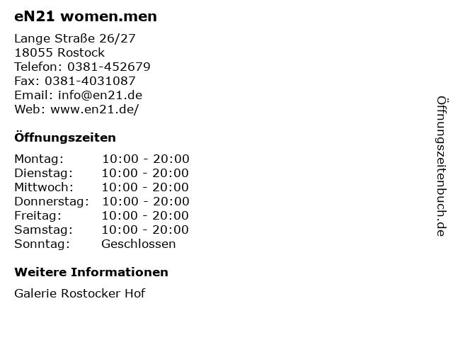 eN21 women.men in Rostock: Adresse und Öffnungszeiten