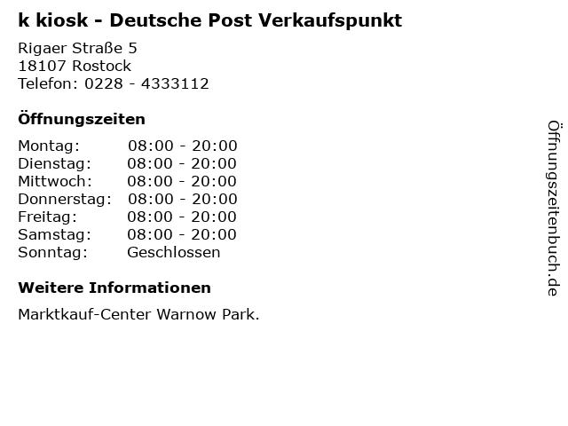 k kiosk - Deutsche Post Verkaufspunkt in Rostock: Adresse und Öffnungszeiten