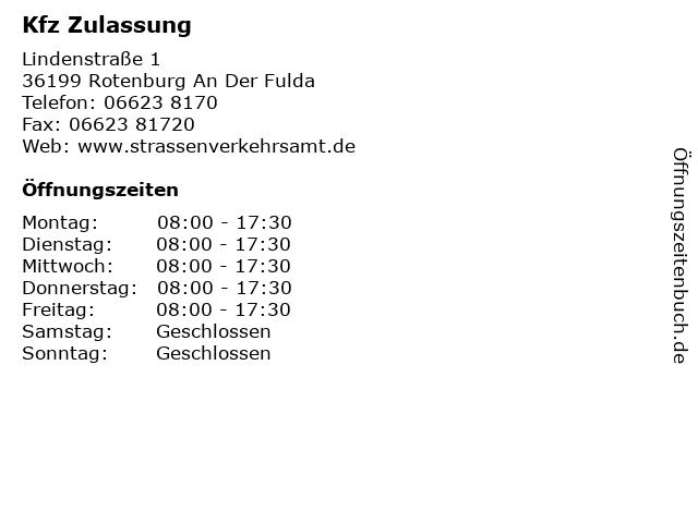 Kfz Zulassung in Rotenburg An Der Fulda: Adresse und Öffnungszeiten