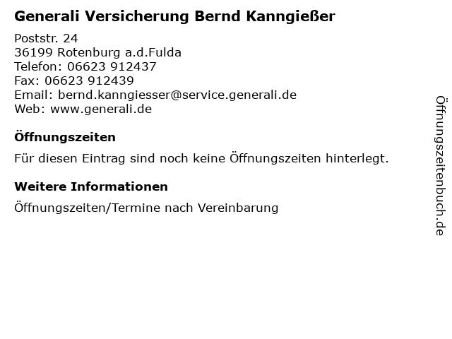 ᐅ Offnungszeiten Generali Versicherung Bernd Kanngiesser Poststr