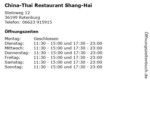 China-Thai Restaurant Shang-Hai in Rotenburg: Adresse und Öffnungszeiten