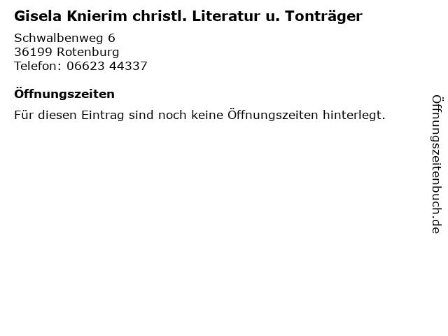 Gisela Knierim christl. Literatur u. Tonträger in Rotenburg: Adresse und Öffnungszeiten