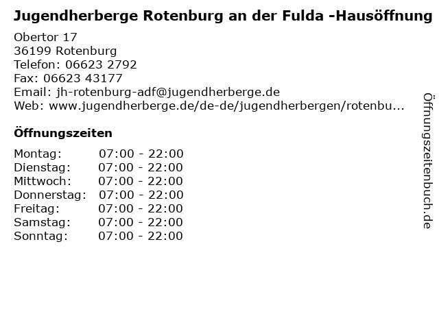 Jugendherberge Rotenburg an der Fulda -Hausöffnung in Rotenburg: Adresse und Öffnungszeiten