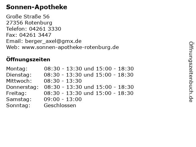 Sonnen-Apotheke in Rotenburg: Adresse und Öffnungszeiten
