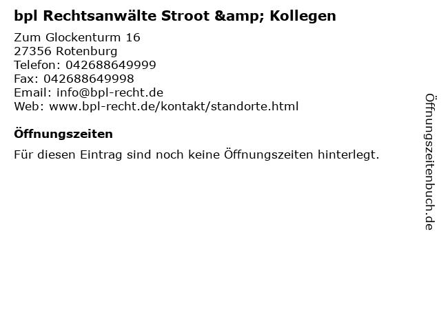 bpl Rechtsanwälte Stroot & Kollegen in Rotenburg: Adresse und Öffnungszeiten