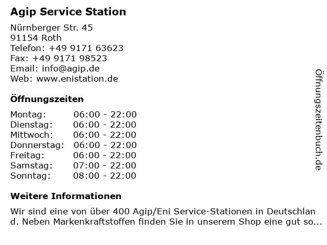 Agip Service Station in Roth: Adresse und Öffnungszeiten