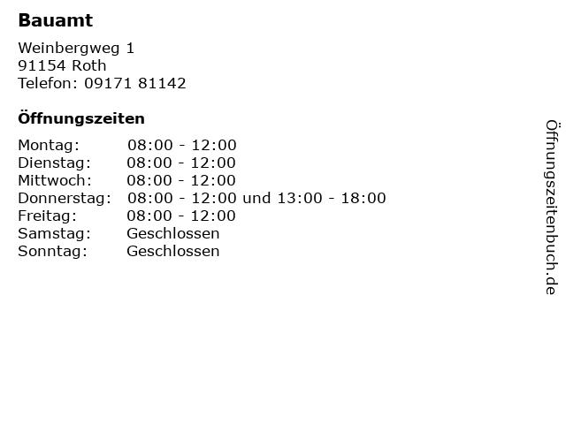 Bauamt in Roth: Adresse und Öffnungszeiten