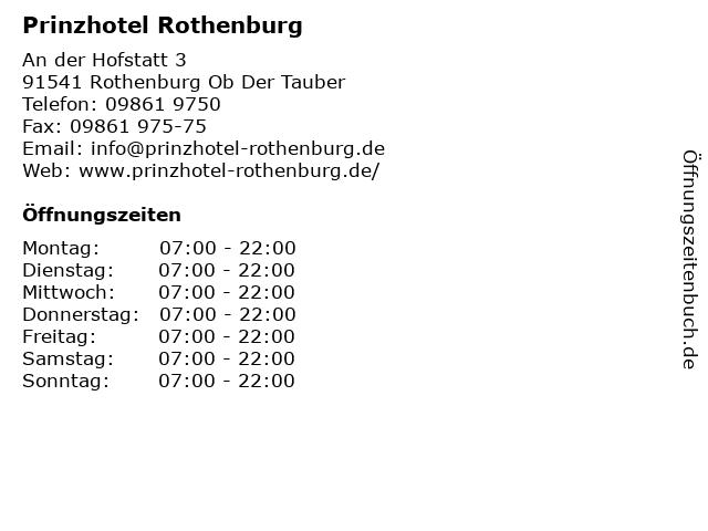 Prinzhotel Rothenburg in Rothenburg Ob Der Tauber: Adresse und Öffnungszeiten