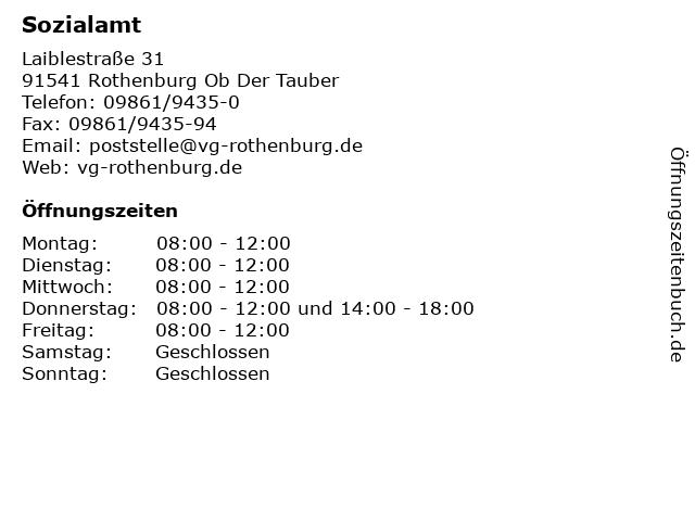 Sozialamt in Rothenburg Ob Der Tauber: Adresse und Öffnungszeiten