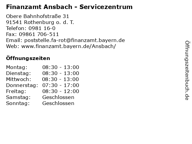 Finanzamt Ansbach - Servicezentrum in Rothenburg o. d. T.: Adresse und Öffnungszeiten