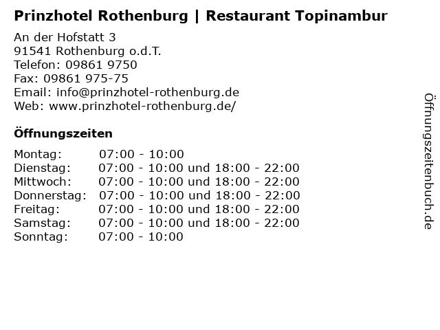 Prinzhotel Rothenburg | Restaurant Topinambur in Rothenburg o.d.T.: Adresse und Öffnungszeiten