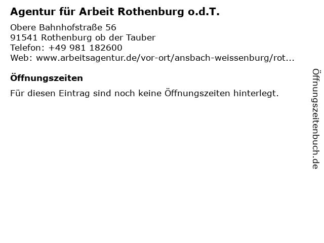 Agentur für Arbeit Rothenburg o.d.T. in Rothenburg: Adresse und Öffnungszeiten
