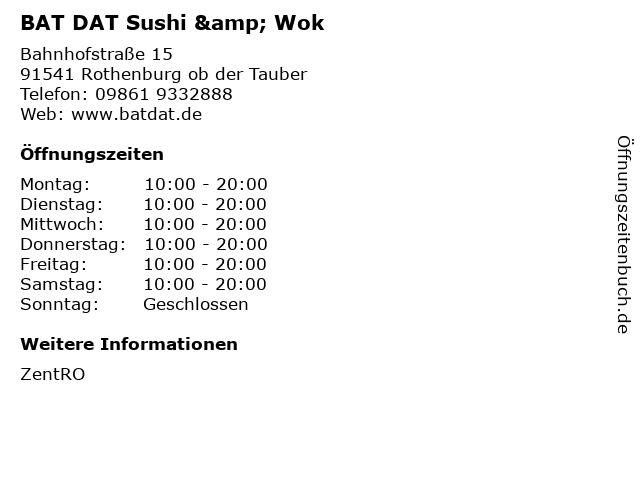BAT DAT Sushi & Wok in Rothenburg ob der Tauber: Adresse und Öffnungszeiten