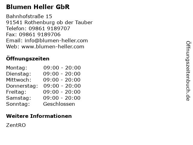 Blumen Heller GbR in Rothenburg ob der Tauber: Adresse und Öffnungszeiten