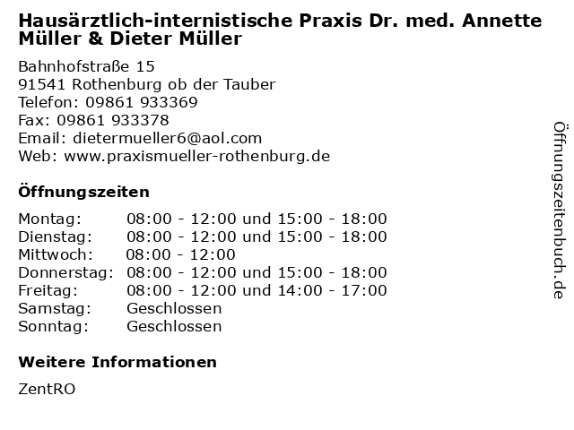 Hausärztlich-internistische Praxis Dr. med. Annette Müller & Dieter Müller in Rothenburg ob der Tauber: Adresse und Öffnungszeiten