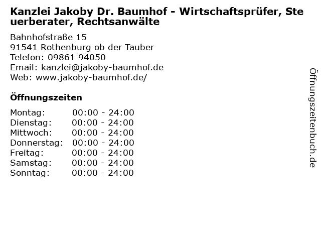 Kanzlei Jakoby Dr. Baumhof - Wirtschaftsprüfer, Steuerberater, Rechtsanwälte in Rothenburg ob der Tauber: Adresse und Öffnungszeiten
