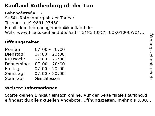 Kaufland Rothenburg ob der Tauber in Rothenburg ob der Tauber: Adresse und Öffnungszeiten