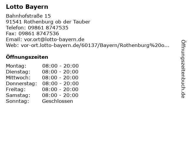 Lotto Bayern in Rothenburg ob der Tauber: Adresse und Öffnungszeiten
