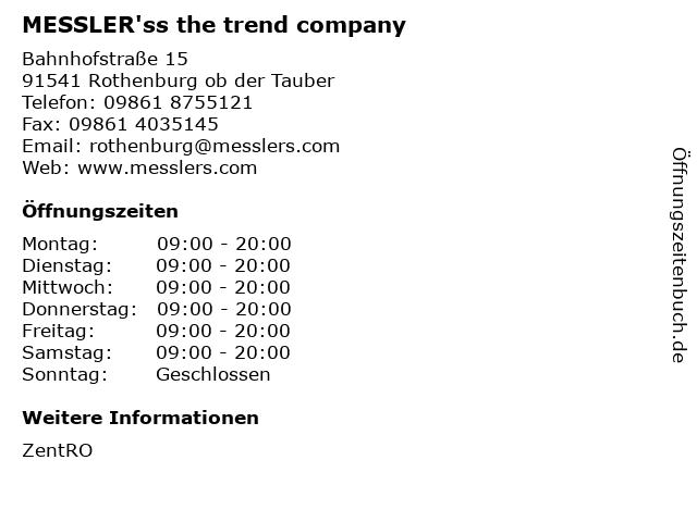 MESSLER'ss the trend company in Rothenburg ob der Tauber: Adresse und Öffnungszeiten