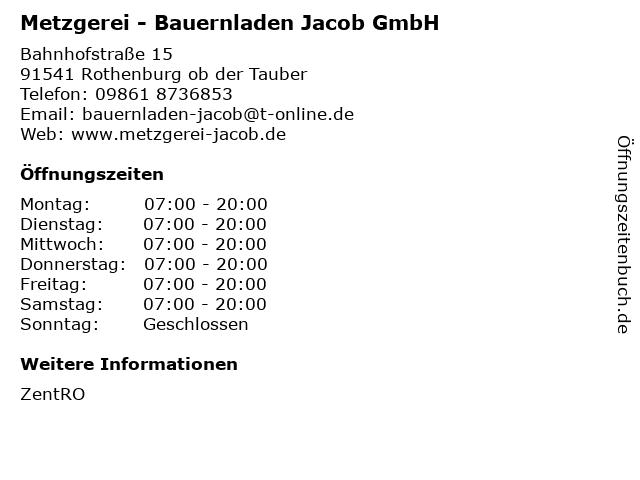 Metzgerei - Bauernladen Jacob GmbH in Rothenburg ob der Tauber: Adresse und Öffnungszeiten